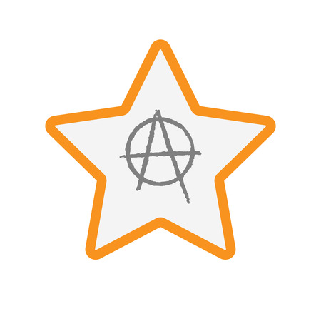 Illustration of an isolated line art star with an anarchy sign