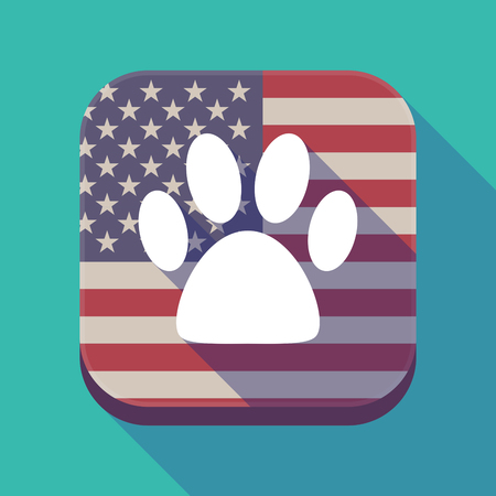 Illustration of a long shadow square app button with the United States of America flag and an animal footprint
