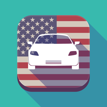 car tire: Illustration of a long shadow square app button with the United States of America flag and a car