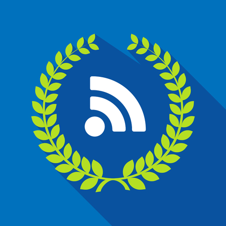 really simple syndication: Illustration of a long shadow laurel wreath with an RSS sign Illustration