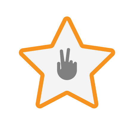 incentive: Illustration of an isolated line art star with a victory hand