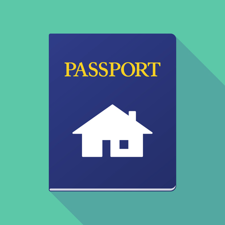 documentation: Illustration of a long shadow  passport with a house