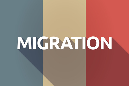 Illustration of a long shadow France flag with  the text MIGRATION