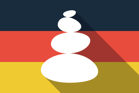 Illustration of a long shadow Germany flag with  a stacked zen stones