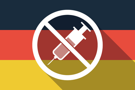 Illustration of a long shadow Germany flag with  a syringe  in a not allowed signal