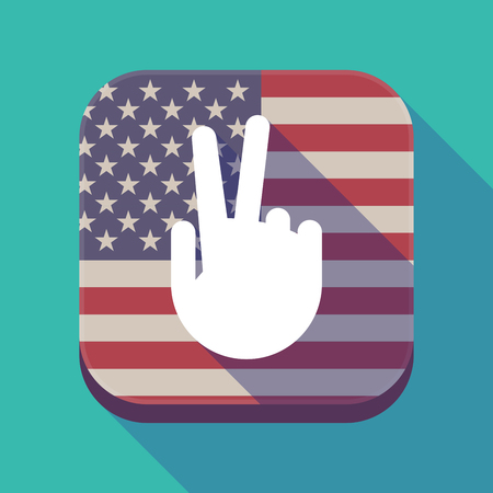 Illustration of a long shadow square app button with the United States of America flag and a victory hand