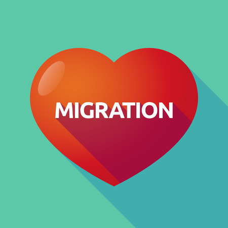 Illustration of a long shadow heart with  the text MIGRATION Illustration