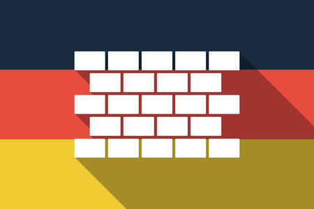Illustration of a long shadow Germany flag with  a brick wall Illustration
