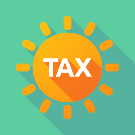 Illustration of a long shadow Sun with  the text TAX