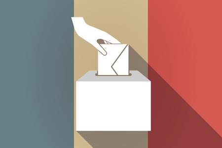 balloting: Illustration of a long shadow France flag with  a hand inserting an envelope in a ballot box