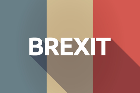 Illustration of a long shadow France flag with  the text BREXIT Illustration