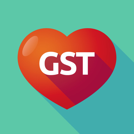 Illustration of a long shadow heart with  the Goods and Service Tax acronym GST