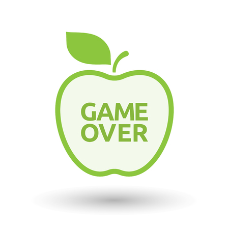 Illustration of an isolated line art apple fruit with  the text Game Over Illustration