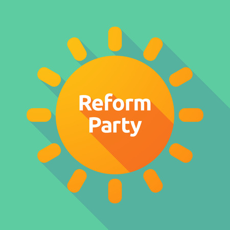 Illustration of a long shadow Sun with  the text Reform Party