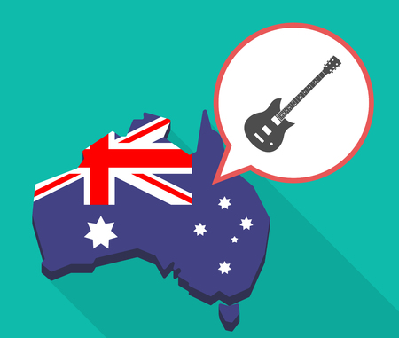 oceania: Illustration of a long shadow map of Australia with a comic balloon and  an electric guitar Illustration