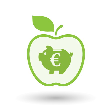 Illustration of an isolated line art apple fruit with  an euro coin in a piggy bank moneybox Illustration
