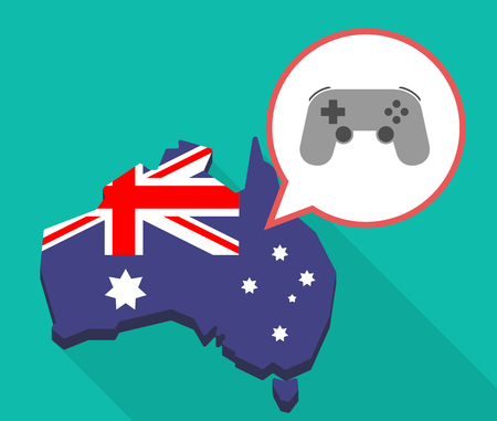 oceania: Illustration of a long shadow map of Australia with a comic balloon and  a game pad
