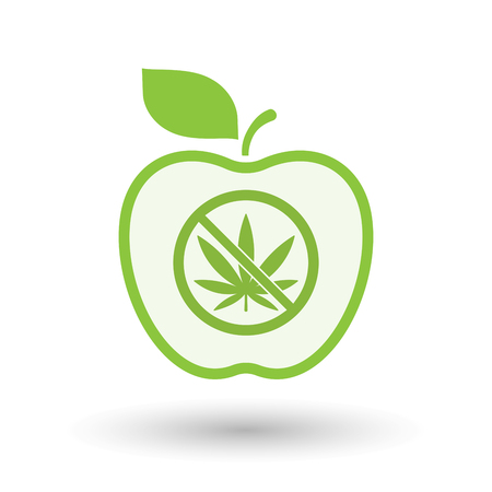 Illustration of an isolated line art apple fruit with  a marijuana leaf  in a not allowed signal
