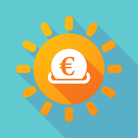 Illustration of a long shadow Sun with  an euro bank note Illustration