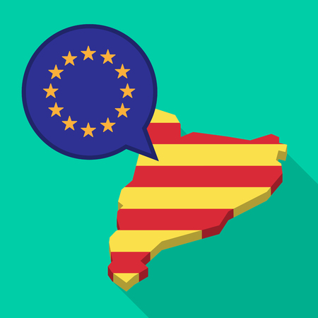 autonomía: Illustration of a long shadow map of Catalonia with a comic balloon and  the EU flag stars