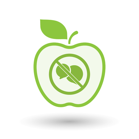 Illustration of an isolated line art apple fruit with  two comic balloons  in a not allowed signal