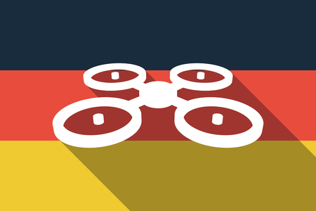 Illustration of a long shadow Germany flag with  a quadcopter drone