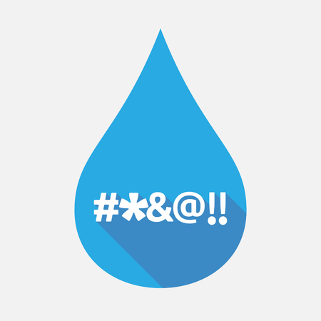 Illustration of an isolated flat color water drop with  a cursing text