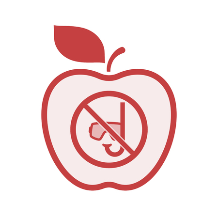 Illustration of an isolated line art apple fruit with  a diving glasses and a snorkel  in a not allowed signal