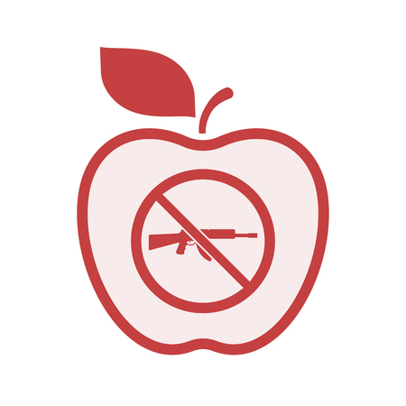 Illustration of an isolated line art apple fruit with  a rifle  in a not allowed signal