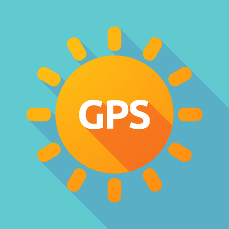 global positioning system: Illustration of a long shadow Sun with  the Global Positioning System acronym GPS