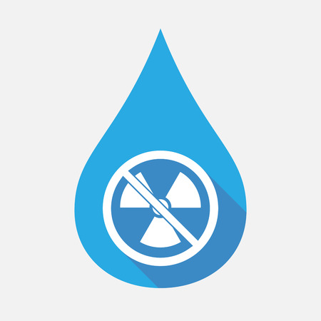 Illustration of an isolated flat color water drop with  a radioactivity sign  in a not allowed signal Illustration