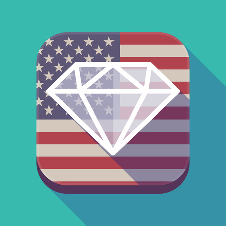 Illustration of a long shadow square app button with the United States of America flag and a diamond Illustration