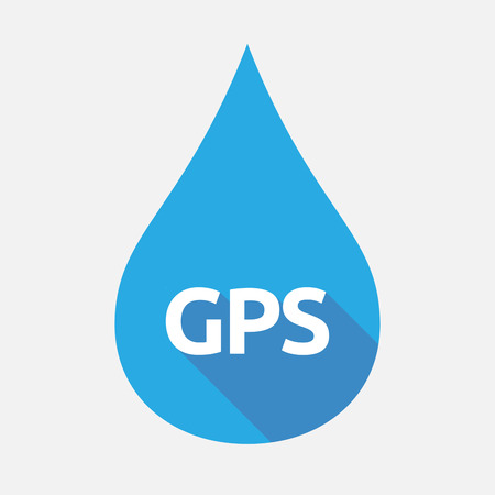 global positioning: Illustration of an isolated flat color water drop with  the Global Positioning System acronym GPS