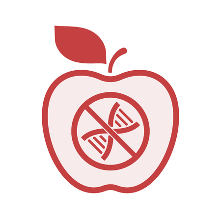Illustration of an isolated line art apple fruit with  a DNA sign in a not allowed signal  イラスト・ベクター素材
