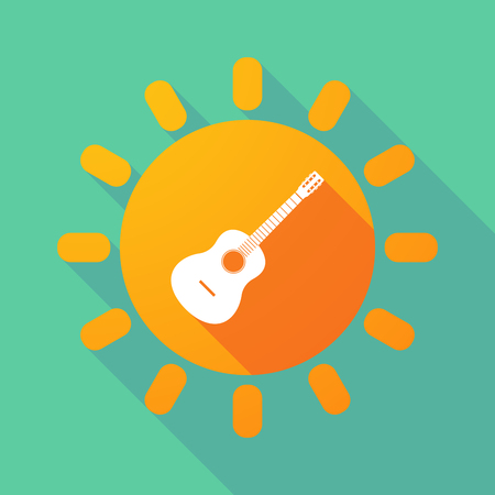 Illustration of a long shadow Sun with  a six string acoustic guitar Illustration