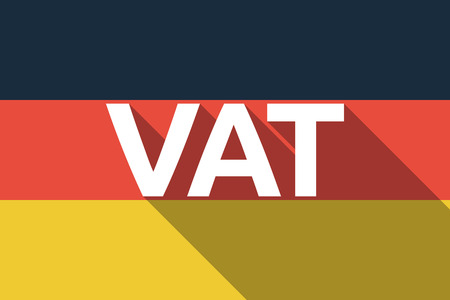 Illustration of a long shadow Germany flag with  the value added tax acronym VAT Illustration