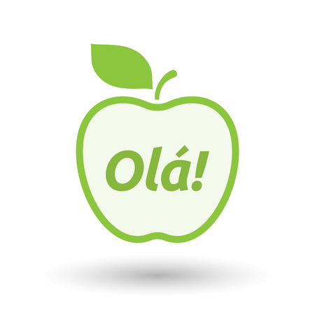 Illustration of an isolated line art apple fruit with  the text Hello! in the Portuguese language