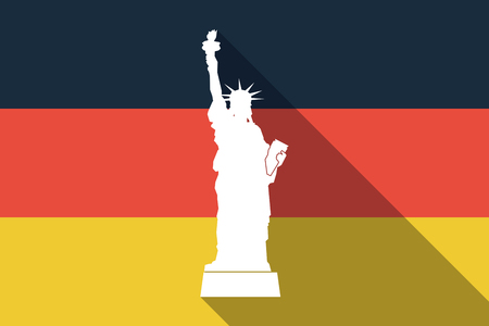Illustration of a long shadow Germany flag with  the Statue of Liberty