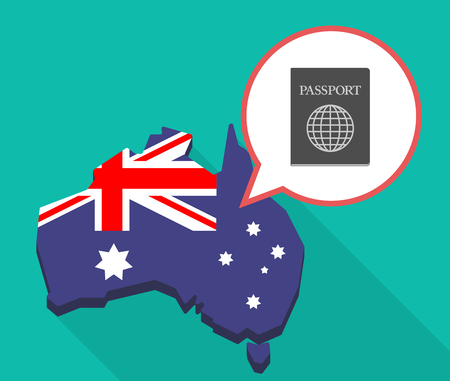 Illustration of a long shadow map of Australia with a comic balloon and  a passport