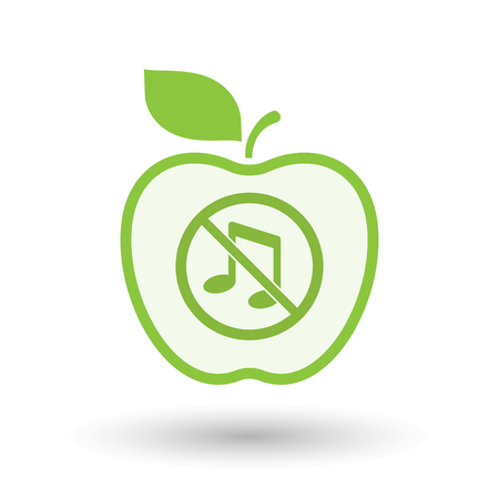 Illustration of an isolated line art apple fruit with  a musical note  in a not allowed signal  イラスト・ベクター素材