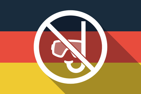 Illustration of a long shadow Germany flag with  a diving glasses and a snorkel  in a not allowed signal