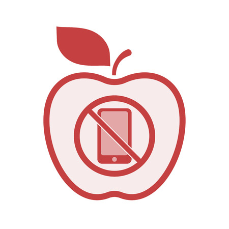 Illustration of an isolated line art apple fruit with  a phone  in a not allowed signal  イラスト・ベクター素材