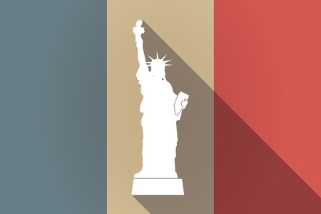 Illustration of a long shadow France flag with  the Statue of Liberty Çizim