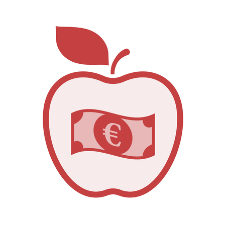 Illustration of an isolated line art apple fruit with  an euro bank note