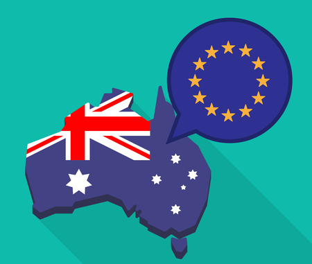 european community: Illustration of a long shadow map of Australia with a comic balloon and  the EU flag stars