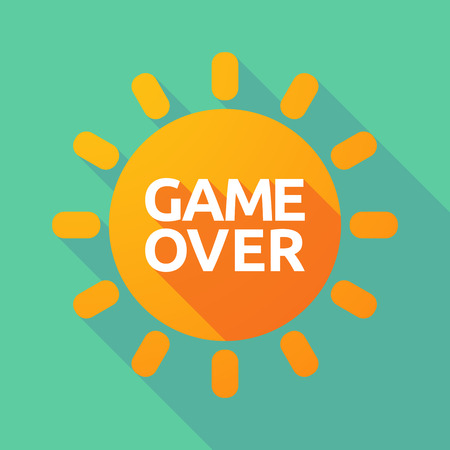 game over: Illustration of a long shadow Sun with  the text Game Over