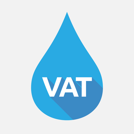 Illustration of an isolated flat color water drop with  the value added tax acronym VAT Illustration