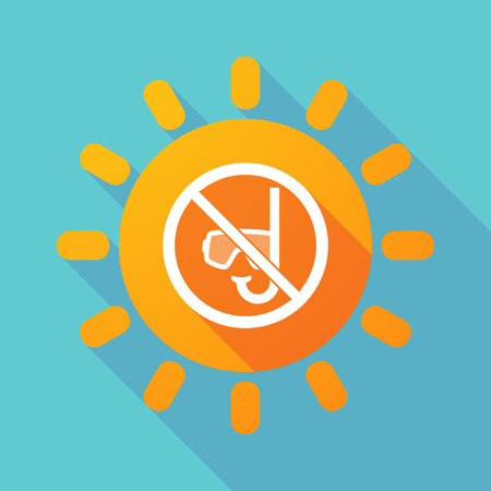 Illustration of a long shadow Sun with  a diving glasses and a snorkel  in a not allowed signal