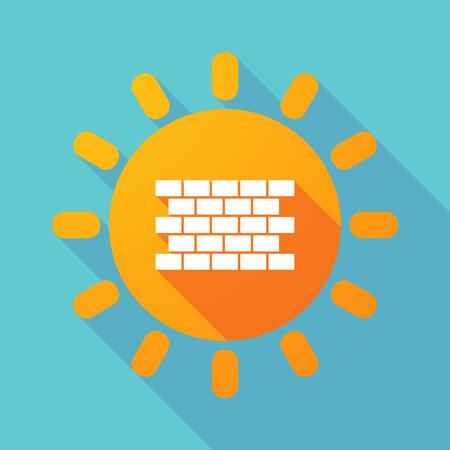 긴 그림자의 그림 벽돌 벽과 태양