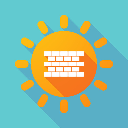 Illustration of a long shadow Sun with  a brick wall